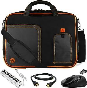 Orange Laptop Messenger Bag 17 inch, Mouse, USB Hub HDMI Cable for HP Envy Omen Pavilion 17 17t 17z ProBook 470 17.3 inch