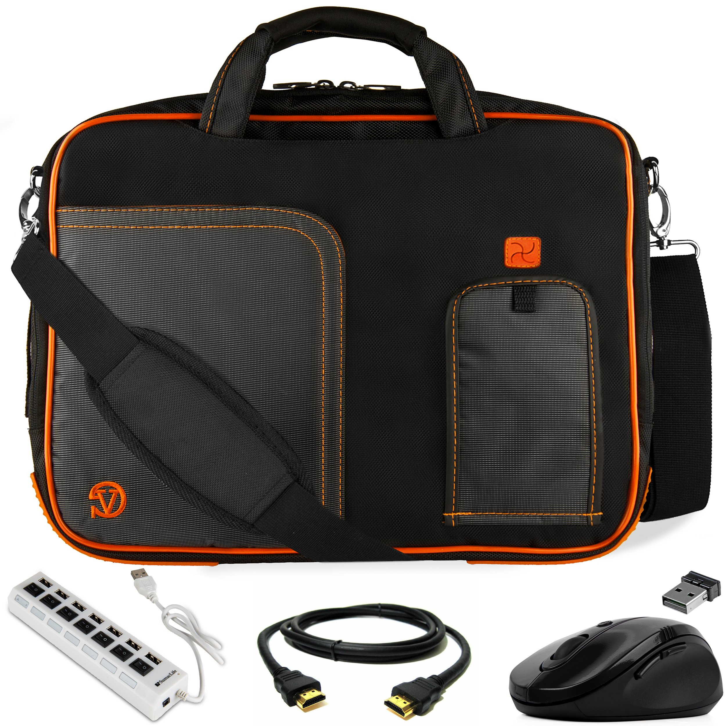 VanGoddy Orange Trim Laptop Bag w/HDMI Cable, USB HUB & Mouse for Acer Aspire/V Nitro/TravelMate 17.3inch Laptops