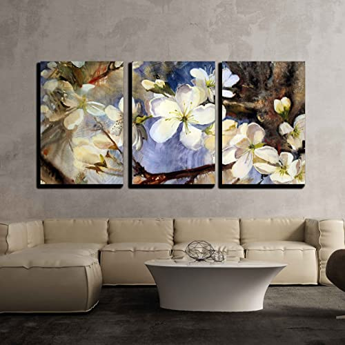 wall26 – 3 Piece Canvas Wall Art – Watercolor Painting of The Blooming Spring Tree Branches with White Flowers – Modern Home Decor Stretched and Framed Ready to Hang – 16 x24 x3 Panels