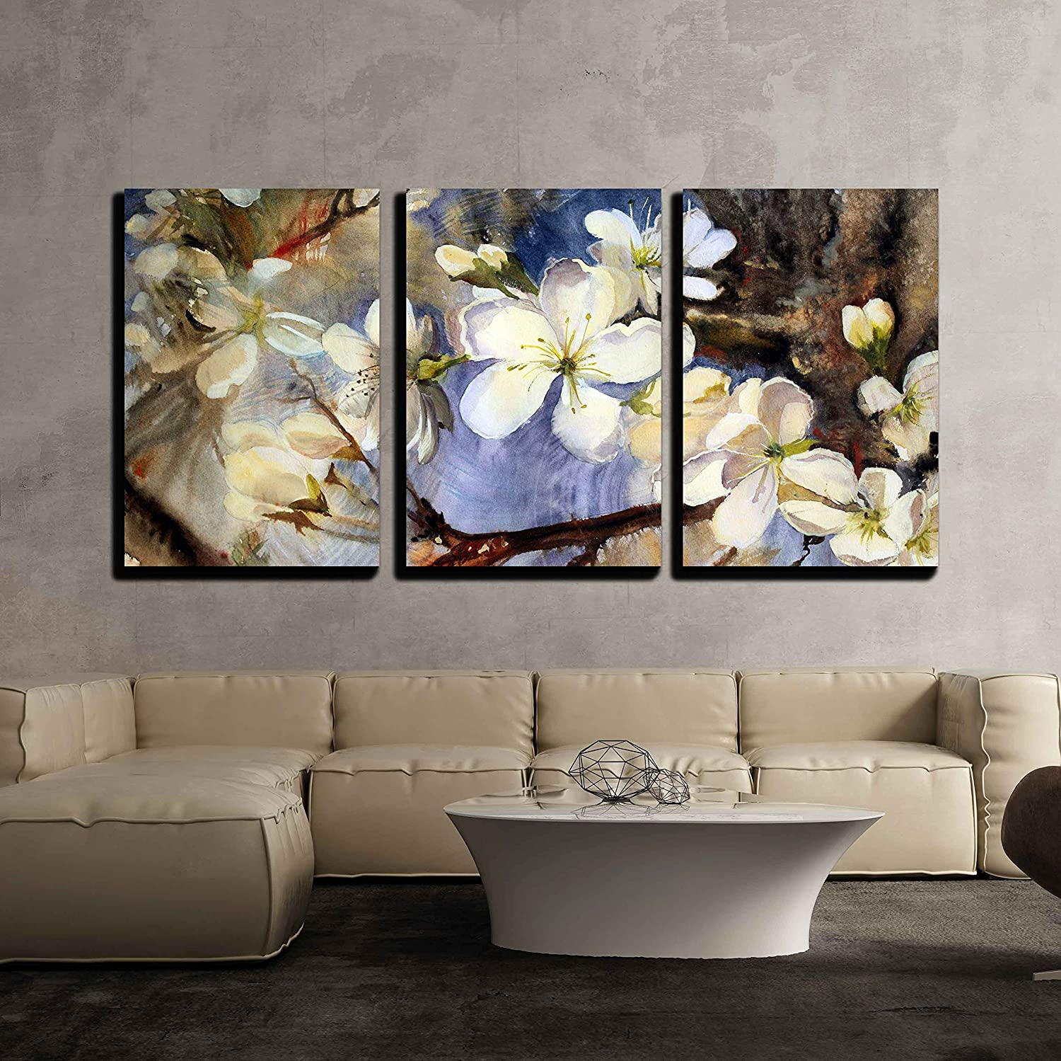 Watercolor Painting Of The Blooming Spring Tree Branches With White
