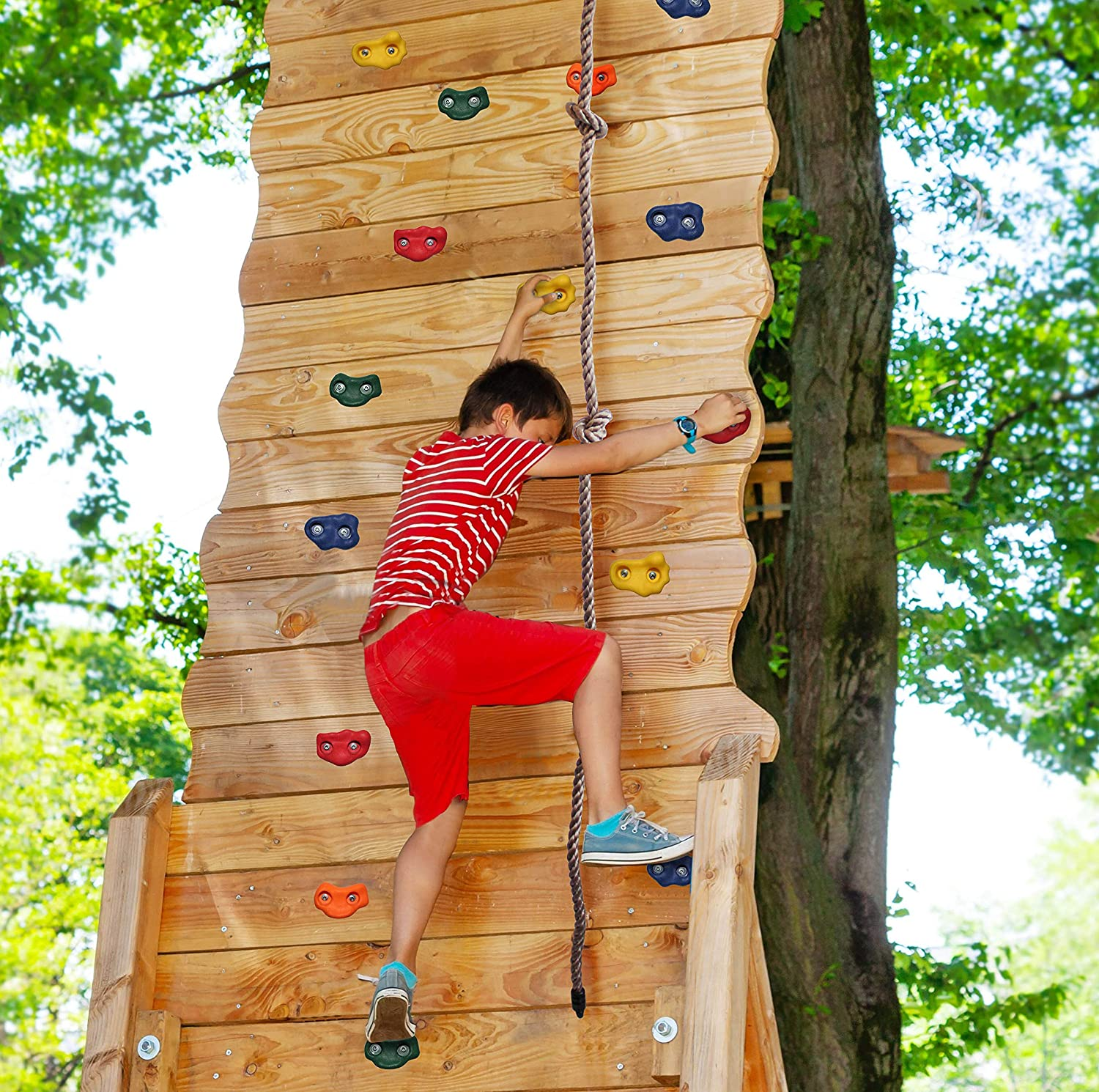 Jungle Gym Kingdom DIY 25 Rock Climbing Holds with Robust 8 Foot Knotted Rope for Childrens Playground Wall Kids Indoor Outdoor Play Sets with Mounting Hardware