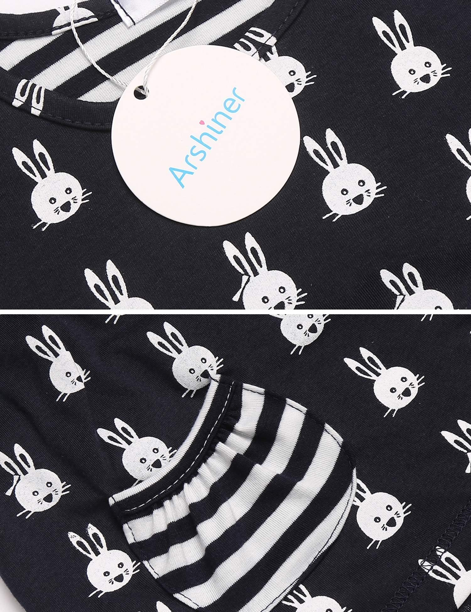 Arshiner Little Girls Long Sleeve Cute Rabbit Print with Pockets Cotton Outfit 12 pcs Pants Sets Top+Legging,Navy Blue,130(7-8years old) by Arshiner (Image #7)