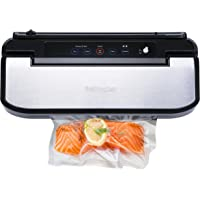 Freshlocker VS160S Stainless Steel Design Compact Automatic Vacuum Sealing System with Starter Pack of Saver Roll and Bags for Food Preservation