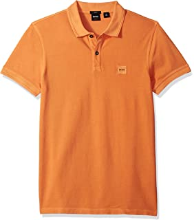 1fc03a5cc21 BOSS Orange Men s Short Sleeve Slim Fit Garment Dyed Chest Logo Patch Polo