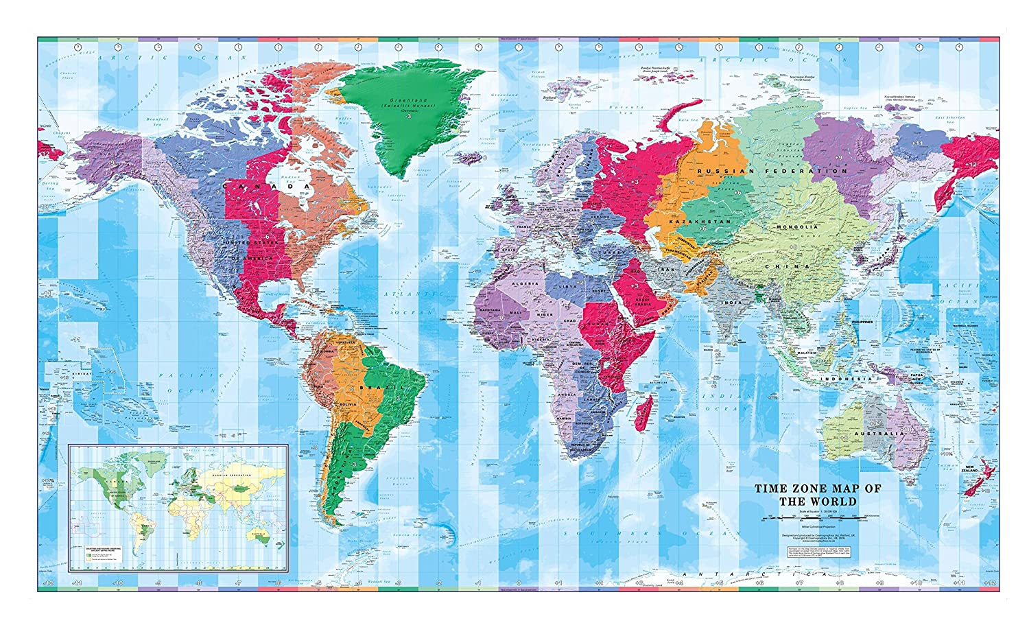 Amazon.com : Time Zone Wall Map of The World - Large - 56.25 ...