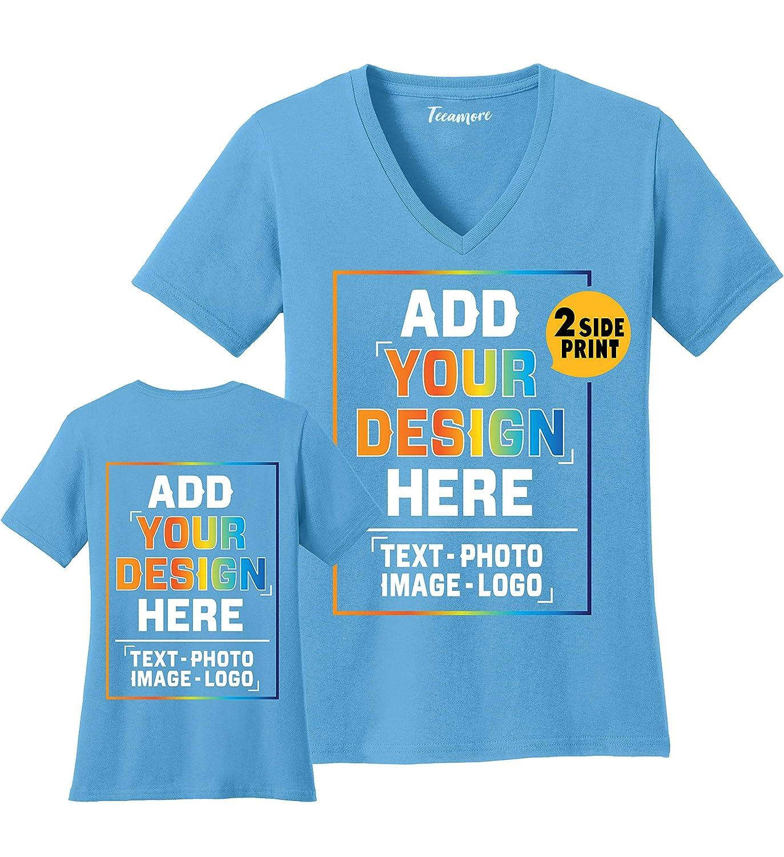 4d810bb1d0c7e Amazon.com: Women Custom V Neck T Shirts Design Your Own Add Picture ...