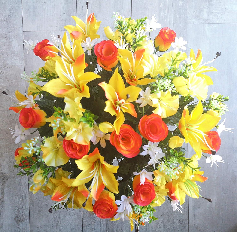 roselynexpress Composition de Fleurs artificielles en c/ône lest/é Ciment pour Une Parfaite Tenue de Votre Bouquet de Fleurs ce Vase en PVC Se d/épose dans Un Vase fun/éraire. Plus Besoin de Sable
