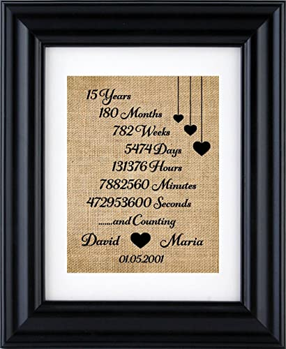 Amazon 15th Anniversary Gifts Personalized Anniversary Burlap