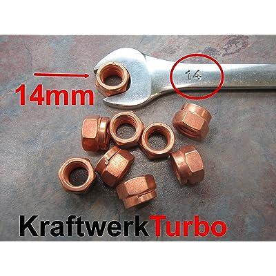 4x M10-1.50 Copper Turbo Nuts 14mm (!!!) Hex: Automotive
