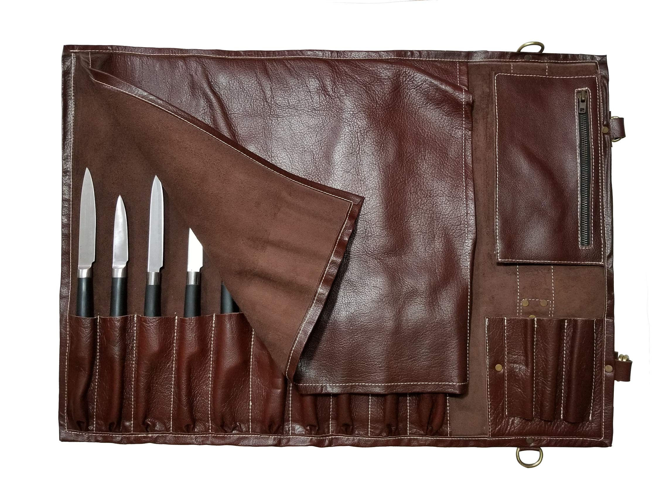 Genuine Lightweight Premium Leather Professional Maroon Long Chef Knife Bag/Chef Knife Roll 13 Slots Space #K5