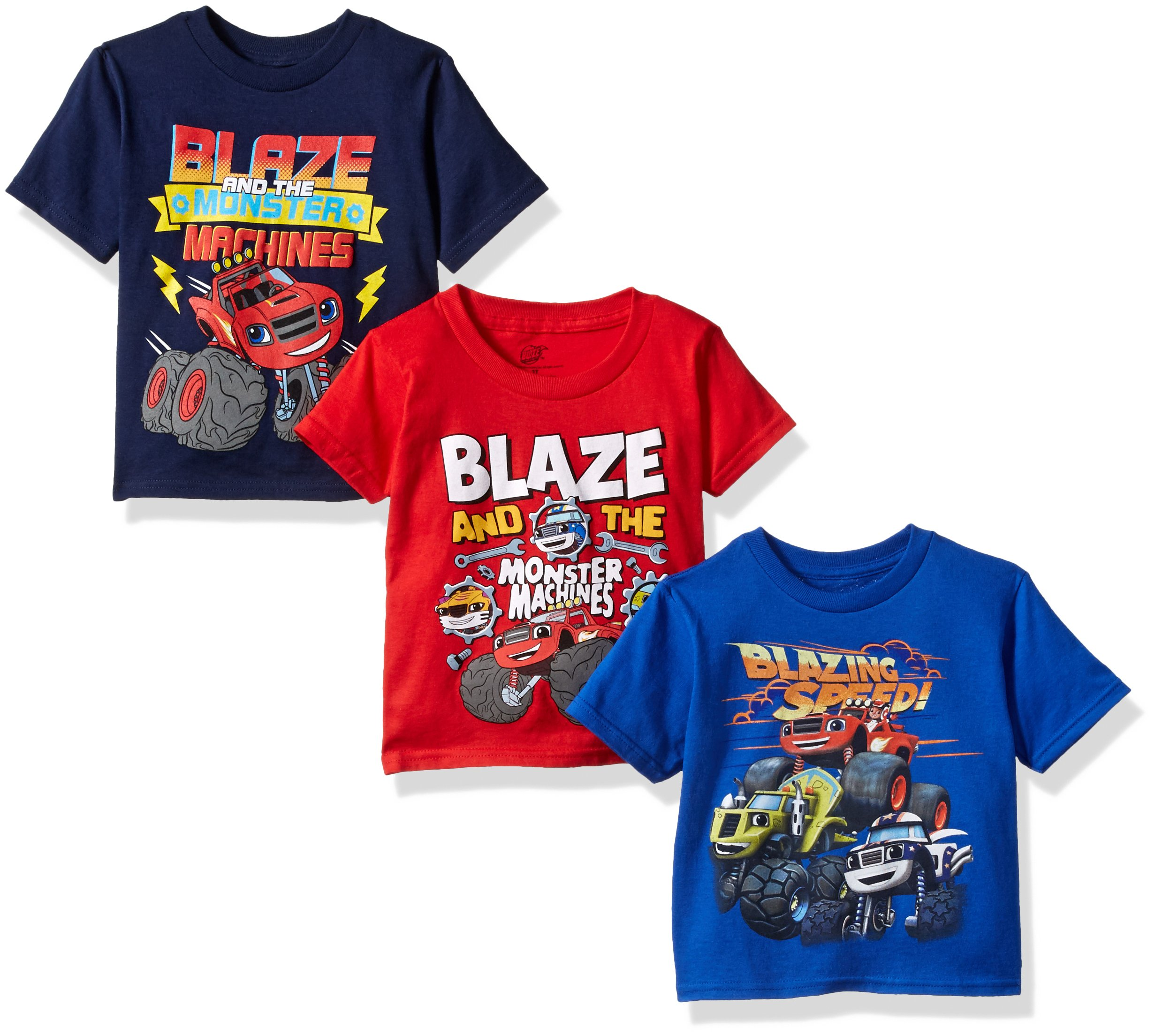 Nickelodeon Boys' Toddler Boys' Blaze and Monster Machines 3 Pack T-Shirt Bundle, Royal/Red/Navy, 4T