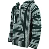 Mexican Baja Jerga green and natural hooded hippie top