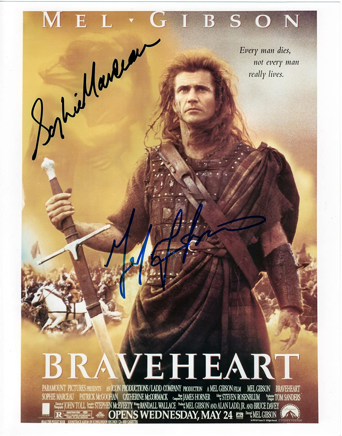 Braveheart with Mel Gibson & Sophie Marceau Cast Signed Autographed 8 X 10 Reprint Photo - Mint Condition