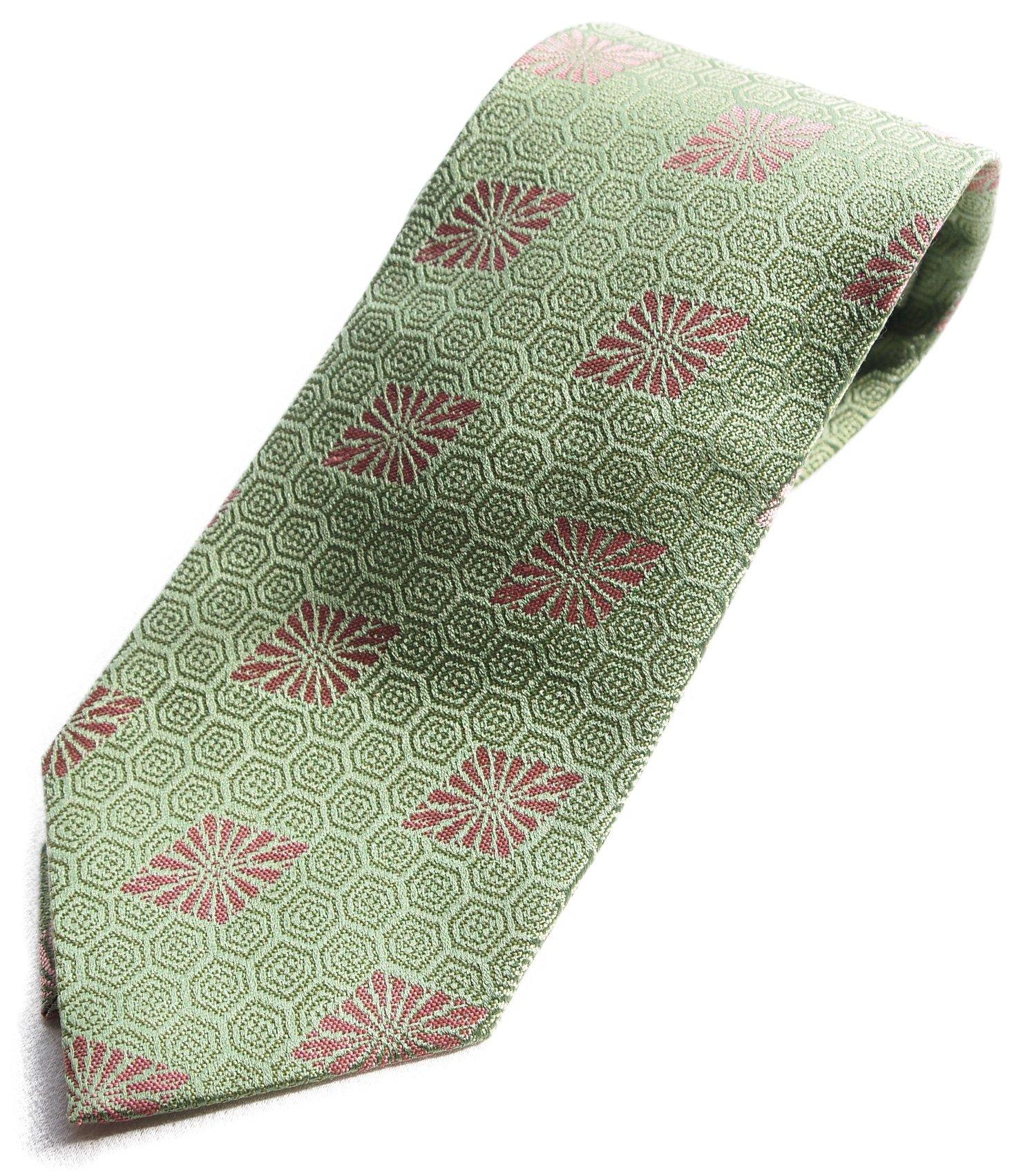 Hand Made Japanese Kimono Pattern Luxury Brocade Neck Tie Silk NISHIJIN (Green kikkou)