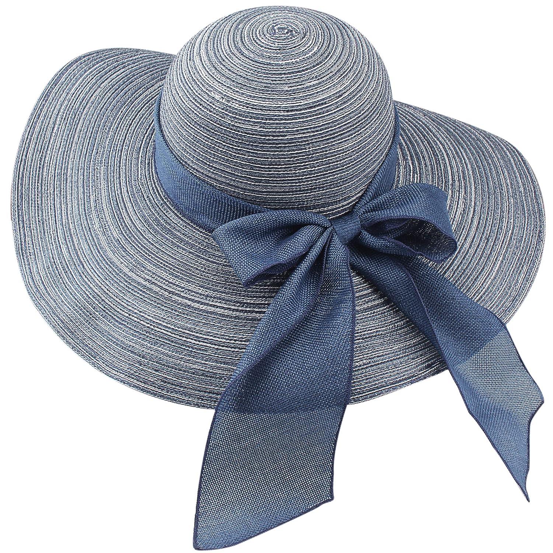 bluee New FURTALK Wide Brim Floppy Sun Hat 100% Cotton Packable Summer Beach Hats for Women