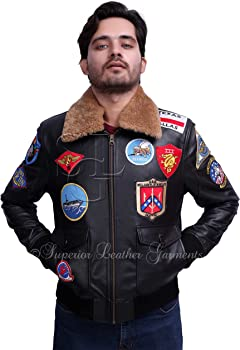 TOP GUN Men/'s Jet Fighter Bomber Navy Air Force Pilot Leather Jacket