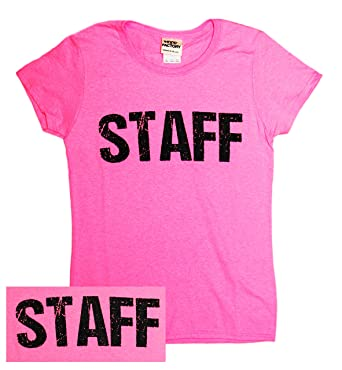 Amazon.com: Ladies Neon Safety Pink Staff T-Shirt Front & Back ...