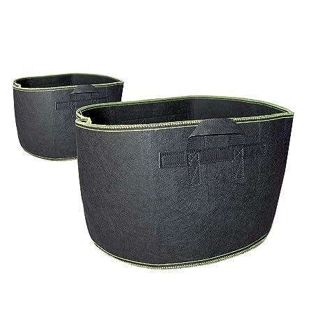 HXBG Bolsas de cultivo para plantas, tela gruesa negra no tejida, contenedor de jardín con asas de correa para jardín de guardería y cultivo de ...