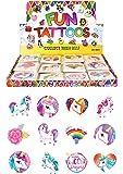 Henbrandt Temporary Tattoo's - UNICORN - 12 x 2 packs = 24 Tattoos supplied