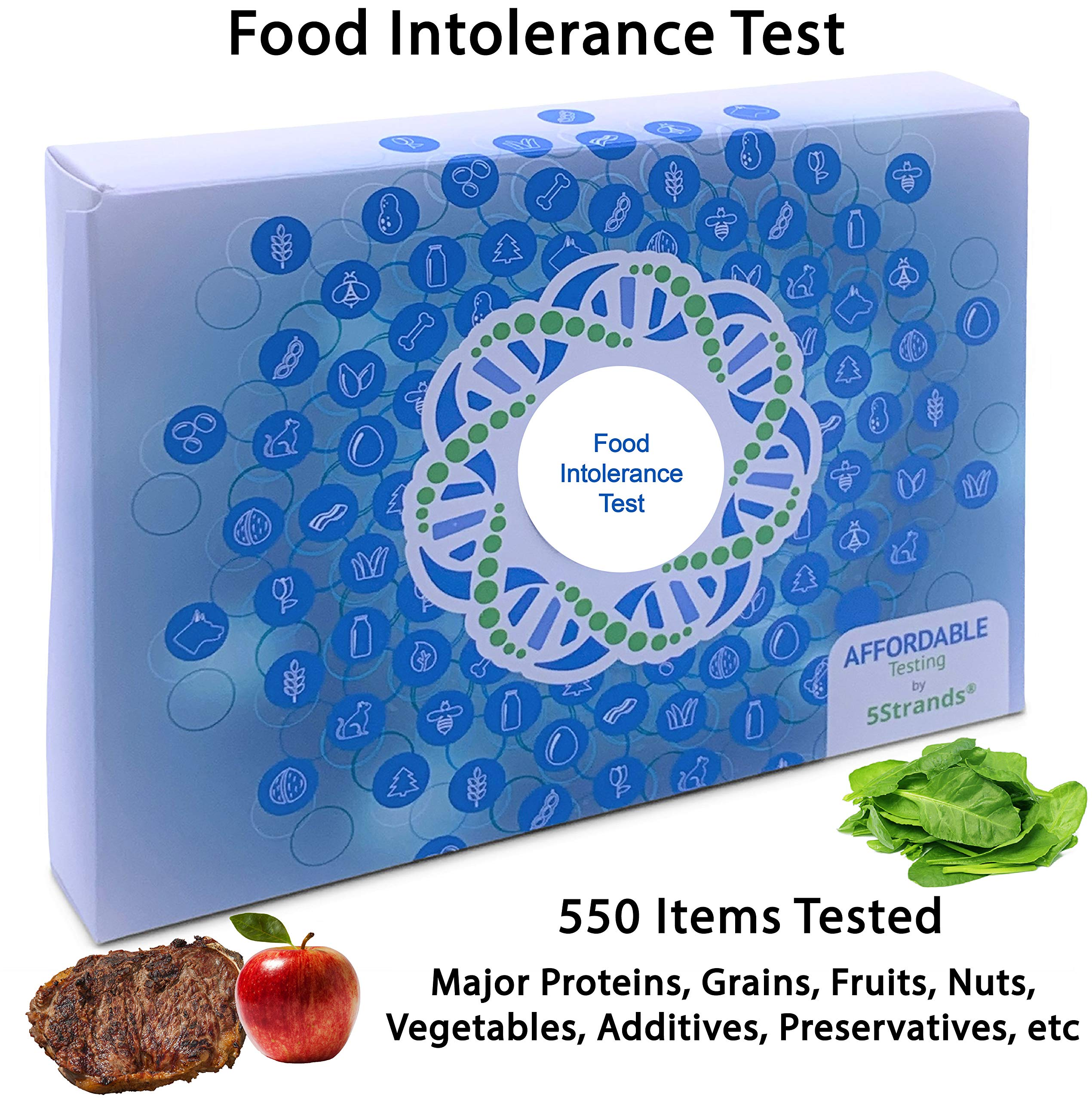 5Strands | Affordable Testing | Food Intolerance Test | at Home Hair Analysis Kit | Tests 550 Items | Protein, Gluten, Soy, Lactose, Preservatives, | Results 7-10 Days by 5Strands