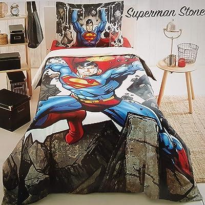 ALWAYS_CHEAPEST Superman Stone Children's Duvet Cover Quilt Cover Bedding Set Single/Twin Bedding for Boys 100% Cotton (3 PCS): Home & Kitchen
