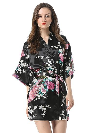 dd7dacf11a Vogue Forefront Women s Peacock Flower Print Satin Short Kimono Robe ...