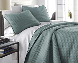 Southshore Fine Linens - Vilano Springs Oversized3 Piece Quilt Set, Full / Queen, Steel Blue (Teal)