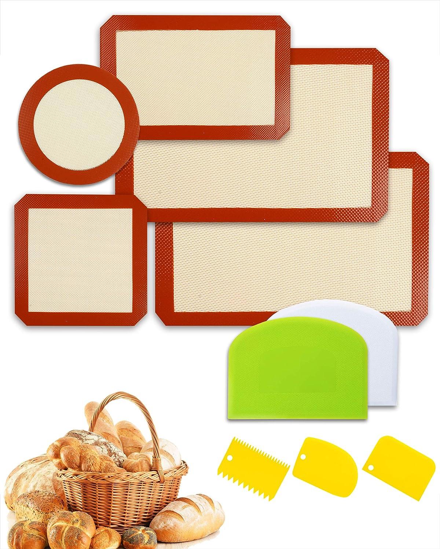 VARLKA Silicone Baking Mats Set of 5 Non-stick Pastry-Mat Food Safe Baking Mat Reusable Baking Sheet Liners Mats Square Cake Pan Mat with 5pcs Food-safe Plastic Dough Scrapers