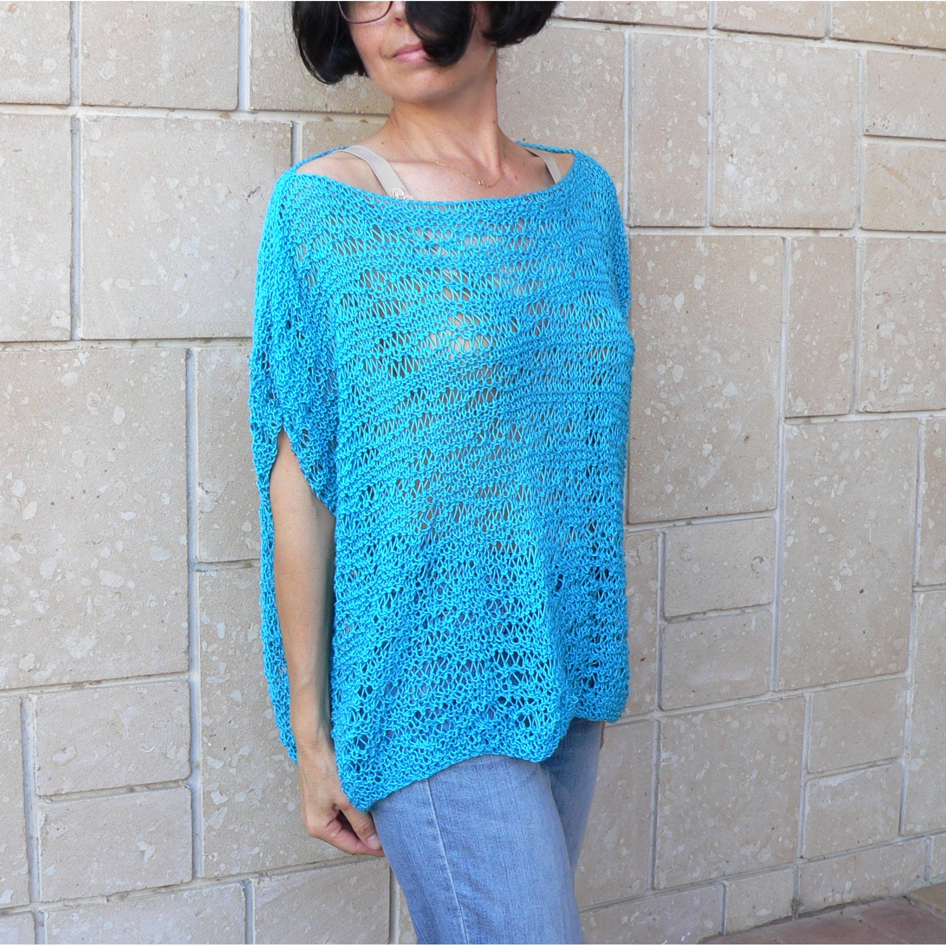 Woman turquoise cotton tunic top #047F