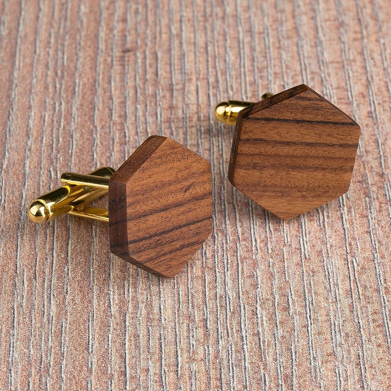 Wood cufflinks. Hexagon rosewood brown cufflinks. Custom personalized initial monogram cufflinks. Engraved jewelry for men. Wedding groomsmen groom gifts