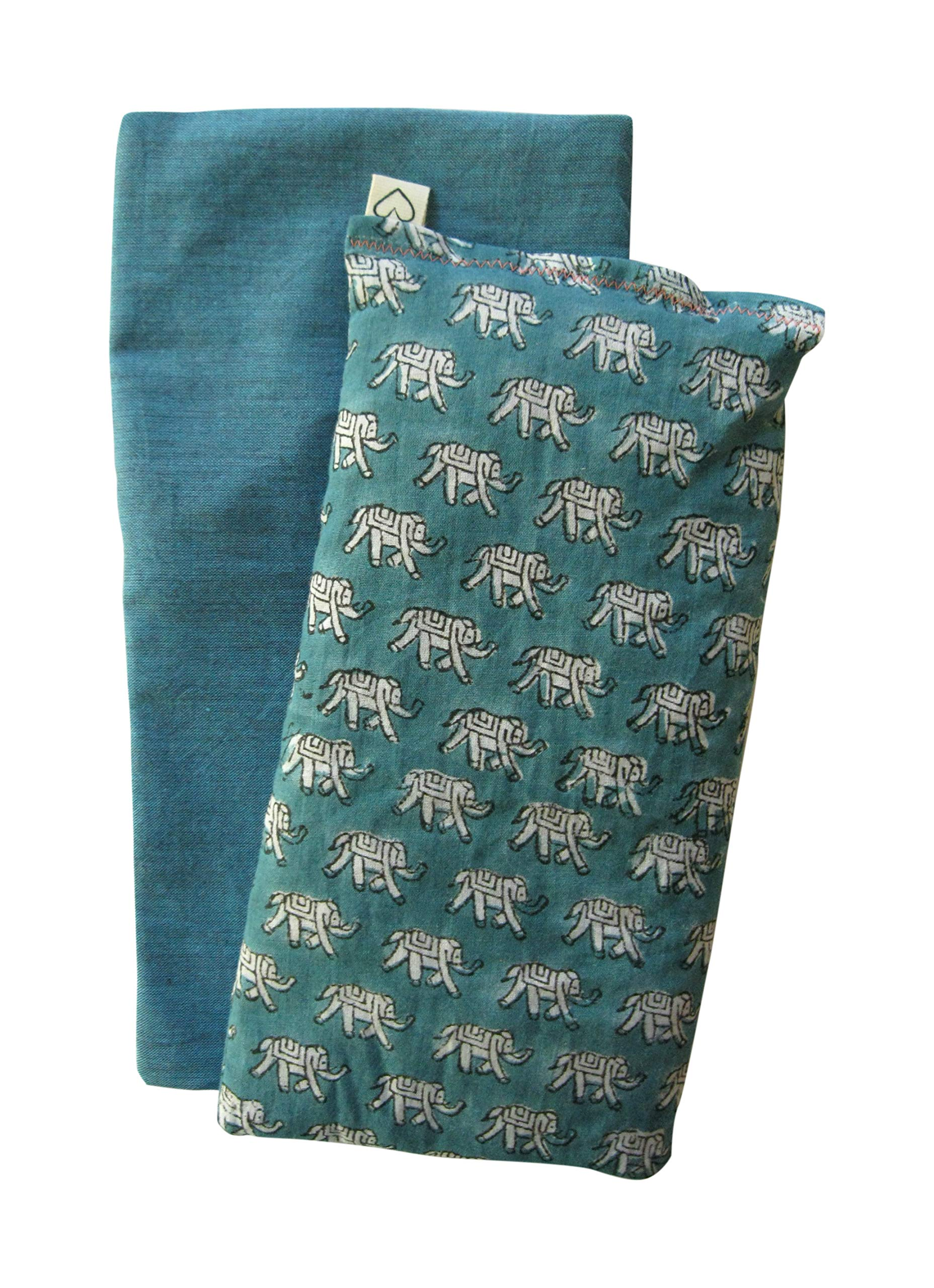 Scented Eye Pillow Gift Set - Washable Cover - Lavender Flax - 4 x 8.5 Cotton - Soothing Relaxing - elephant teal green by Peacegoods