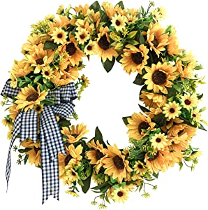 Decorazy Sunflower Wreath for Front Door 20 inch - Fall Wreaths for Front Door Outside - Handcraft Wreath - Autumn Wreath - Sunflower Decor -Fall Artificial Flowers - Front Door Decor