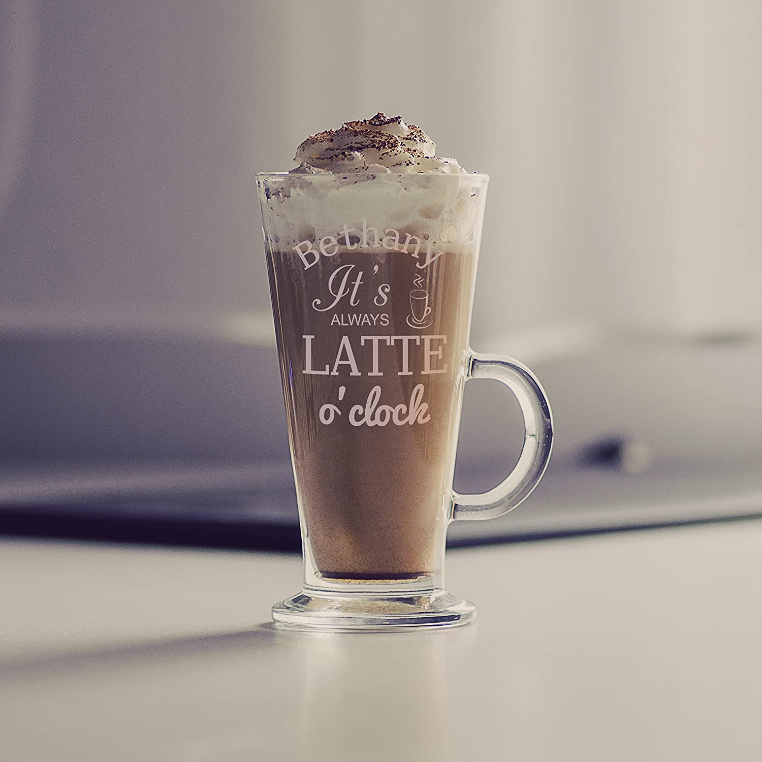 Latte Oclock Glass - Personalised with any name Signature PG