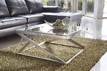 Exceptionnel Coly Brushed Nickel Finish Square Cocktail Table COFFEE TABLE