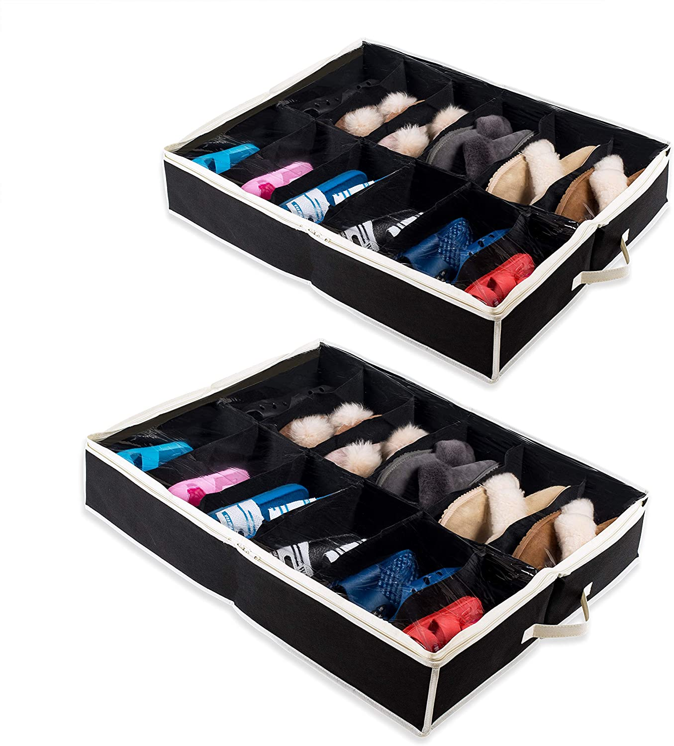 Made with Sturdy /& Breathable Materials Shoes Set of 2 Underbed Storage Solution for Kids /& Adults Woffit Under The Bed Shoe Organizer Fits 12 Pairs Men /& Women Renewed