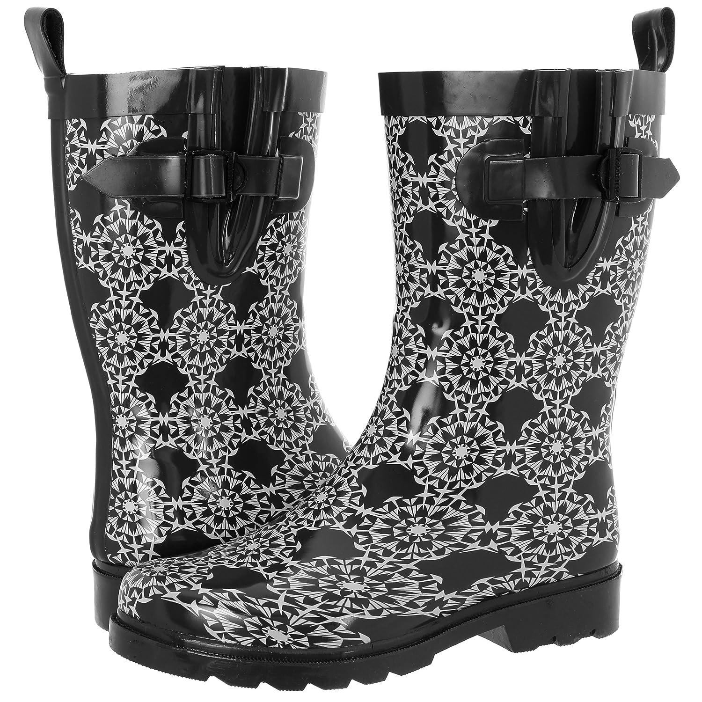 Capelli New York Ladies Pinwheel Geo Pattern Mid Calf Rubber Rain Boot