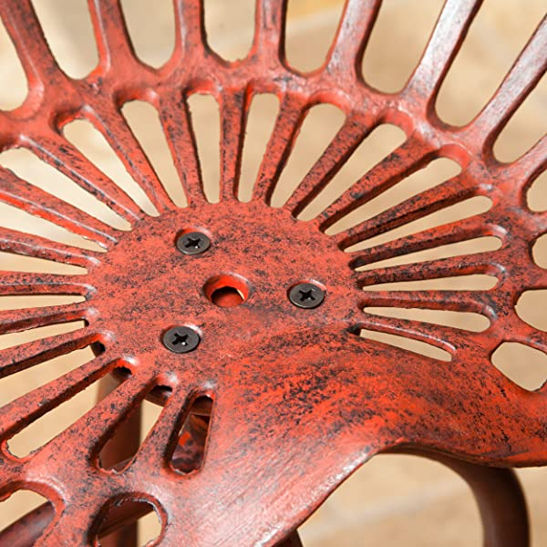 Christopher Knight Home 295389 Aldean Red Industrial Design Metal Tractor Adjustable Height Seat Stool