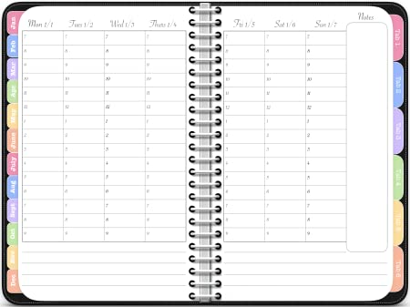 2018 Hourly Planner - The Digital Awesome Planner in Black [Online Code]