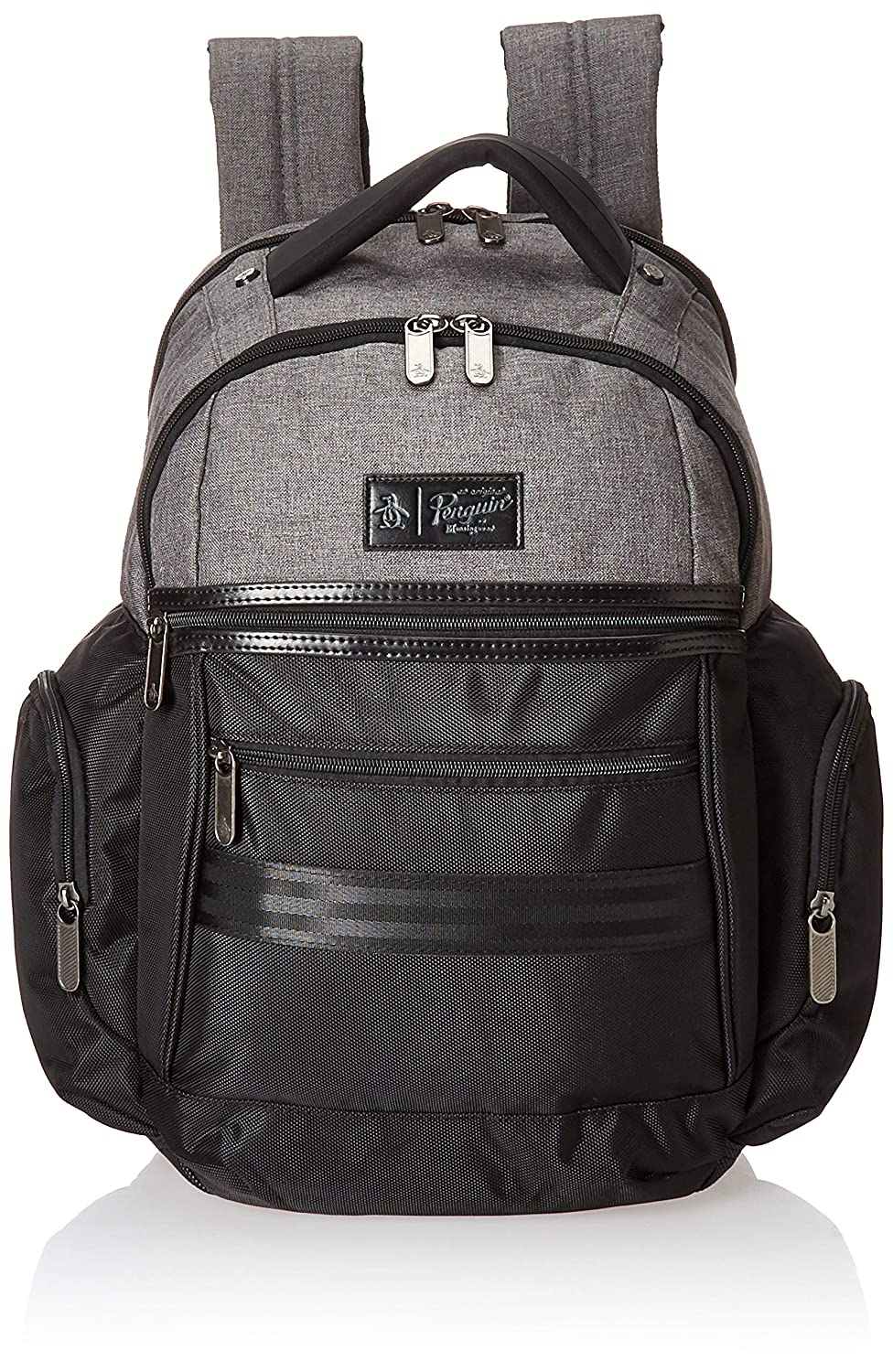 ORIGINAL PENGUIN Classics Backpack Fits Most 15-inch Laptop and Notebook, Black Grey Crosshatch, One Size