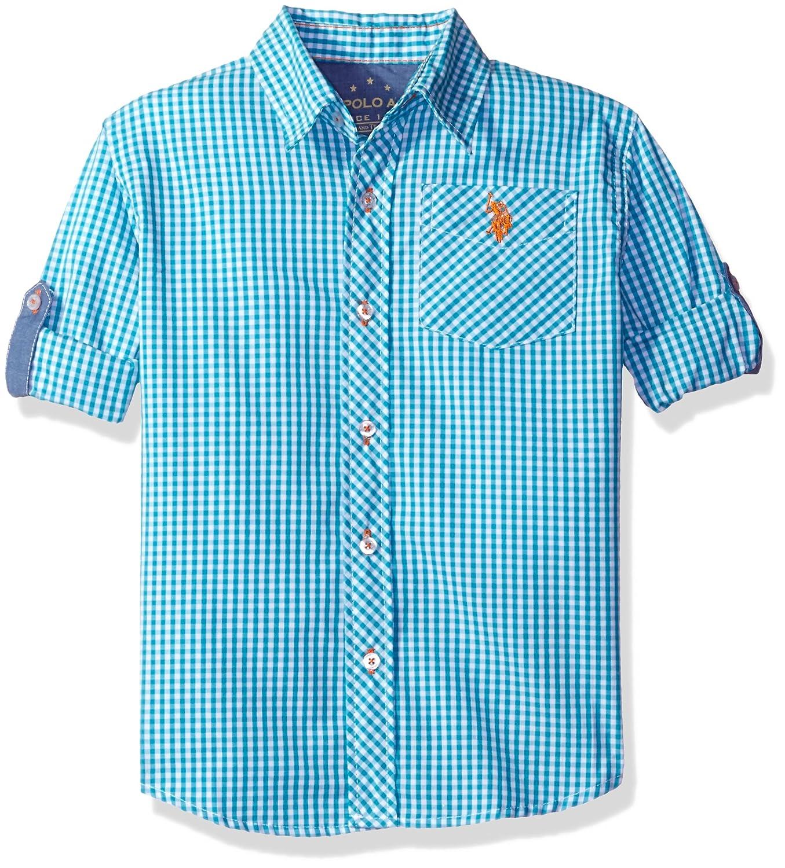 U.S. Polo Assn. Boys' Long Sleeve Plaid Check Cotton Sport Shirt 6117_1