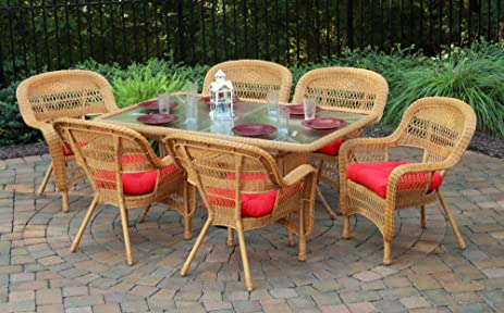 tortuga outdoor psd 66 am haliw 7 piece portside dining set amber