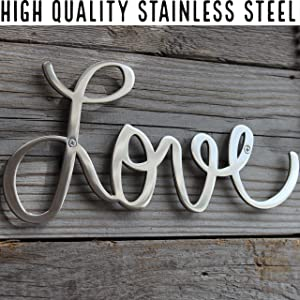 "Way Of Hearts Metal Love Sign – Vintage Home Decor – Rustic Farmhouse Decor for The Home – Silver Love Sign for Home Decor Wall Decorations for Living Room, 10"" x 4.5"" x 0.1"""