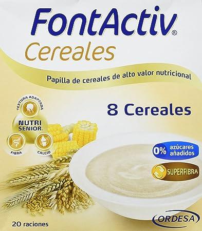 Fontactiv 8 cereales 600 grs, papilla de cereales de alto valor nutricional para adultos y mayores, Mezcla de 8 cereales : trigo, arroz, cebada, ...