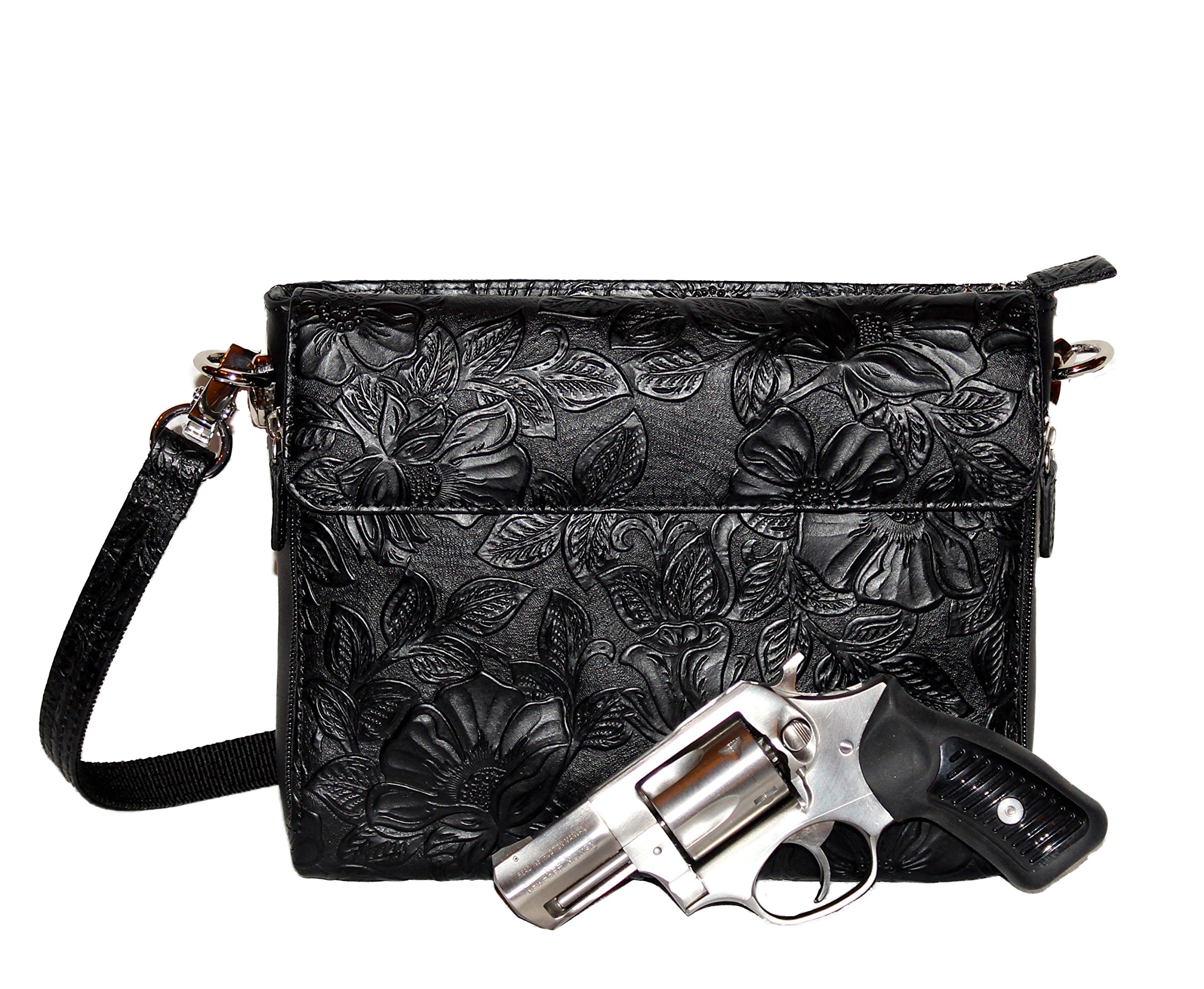 Gun Tote'n Mamas - Concealed Carry Purse - Leather - Tooled American Cowhide (Black)