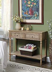 Convenience Concepts French Country Two Drawer Hall Table, Driftwood