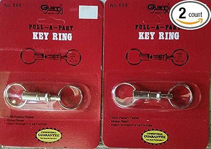 New Dual Key Ring Snap Lock Holder Detachable Pull-Apart Key Rings Keychha