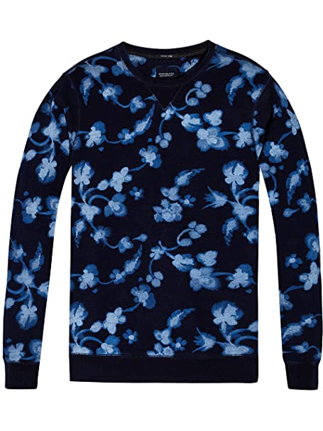 AMS Blauw Allover Print Sweat, Sudadera para Hombre, Multicolor (Combo a 17), Medium Scotch & Soda