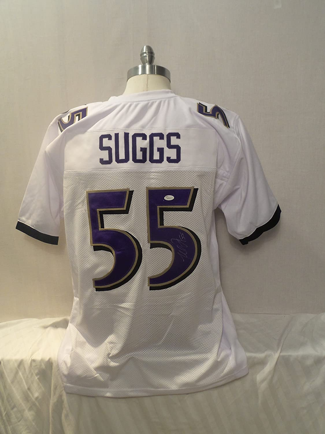 cheaper d524f 27aa8 Terrell Suggs Signed Baltimore Ravens White Autographed ...