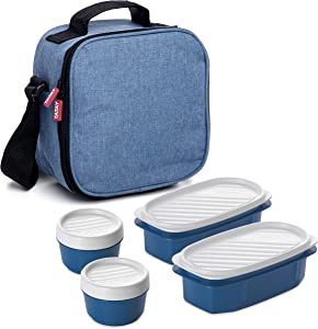 TATAY Urban Food Casual Insulated Lunch Bag with 4 Airtight Tapers Included, 3-Litre Capacity 22.5 x 10 x 22 cm Denim Blue