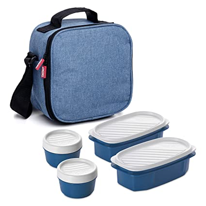 TATAY 1167514 - Urban Food Casual Denim Blue - Bolsa térmica Porta Alimentos con 4 tapers herméticos incluidos, 3 litros de capacidad, Color azul ...